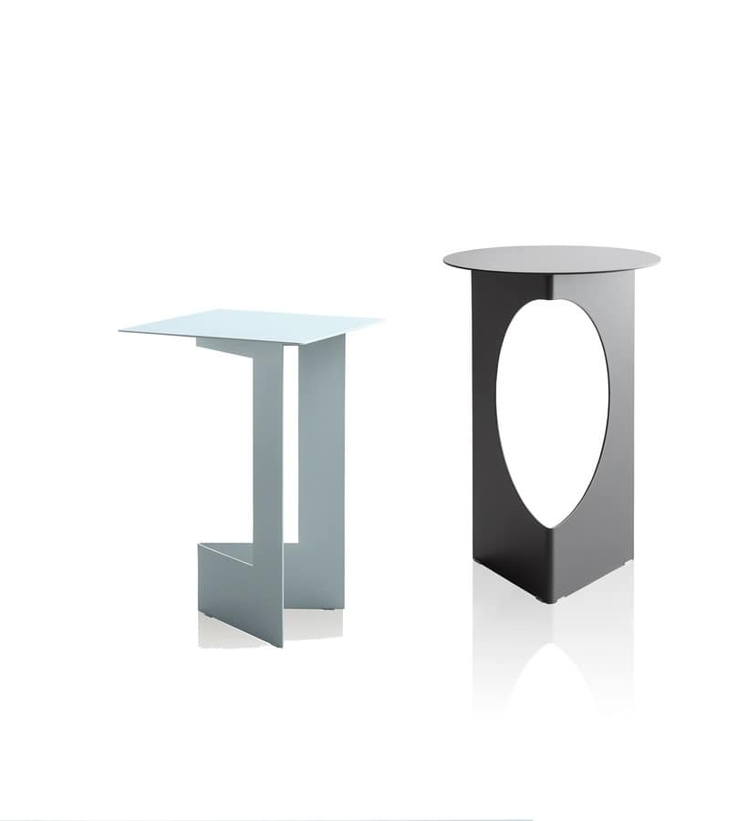 Duetto, Robust small table in metal sheet, folded and painted