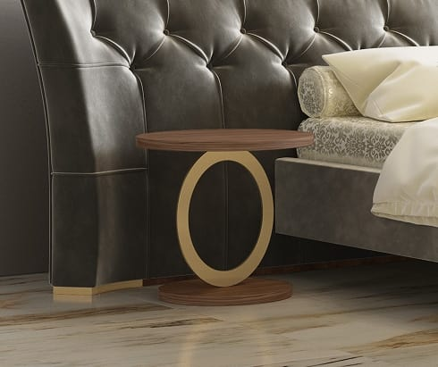Eos, Round side table in metal and canaletto walnut