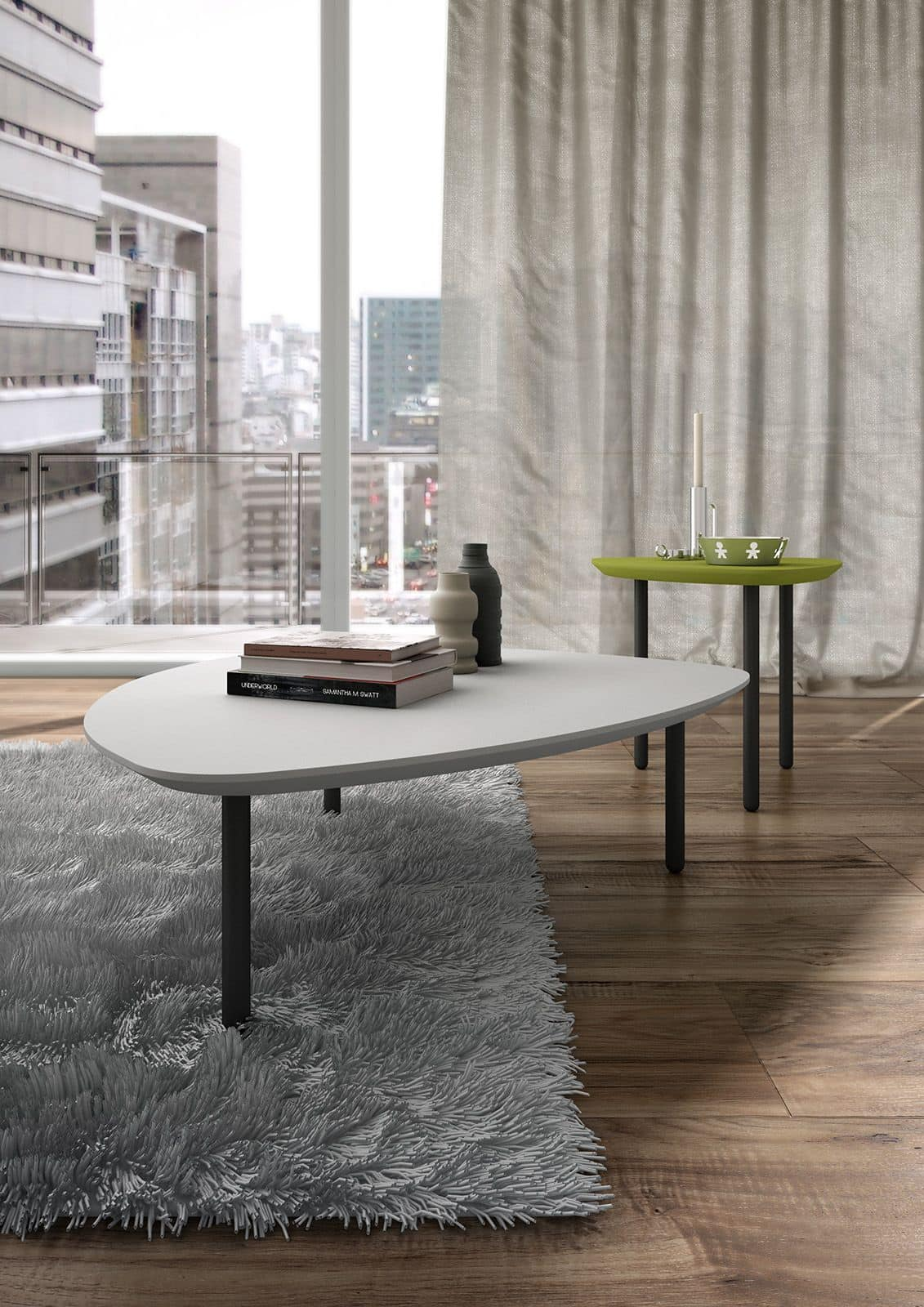 Eos, Coffee table with triangular shape with rounded corners