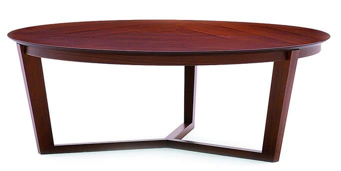Flen 905 - 906, Round coffee table, solid beech frame, beech or marble top