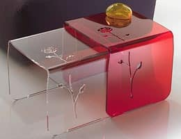 Floreal, Transparent coffee table with floral decoration