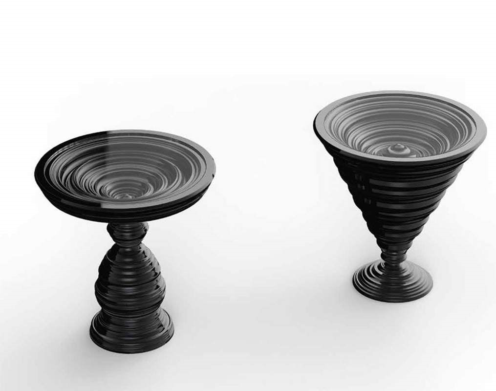 Frames Art. TB01, Round side tables with a particular base