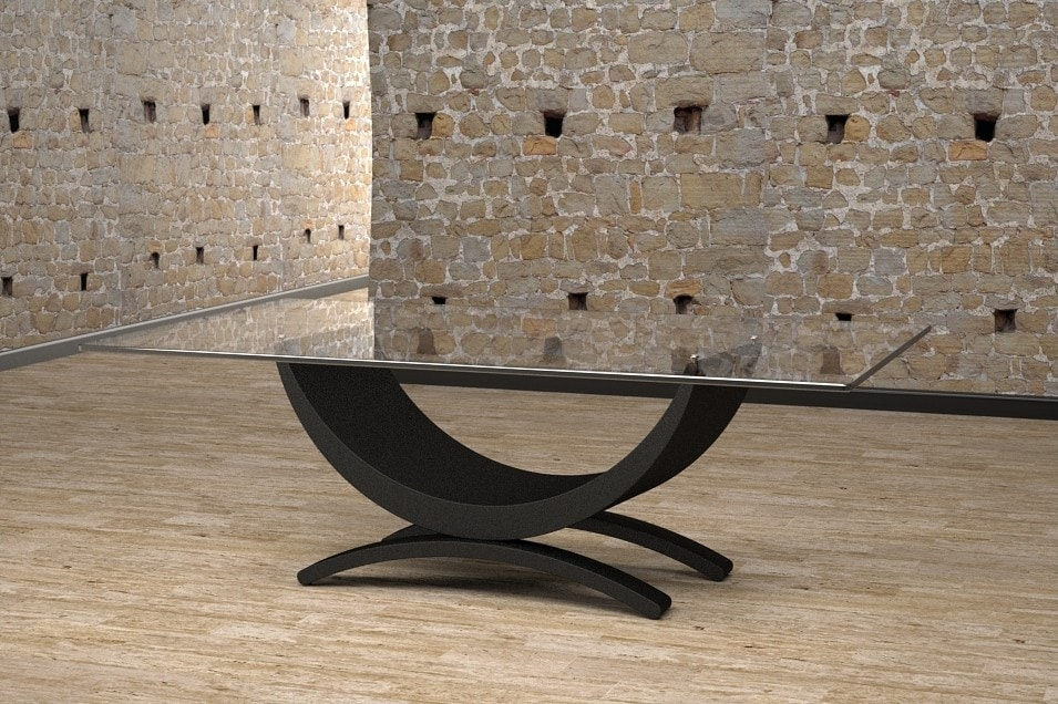 Gordon, Coffee table with wooden and stone base