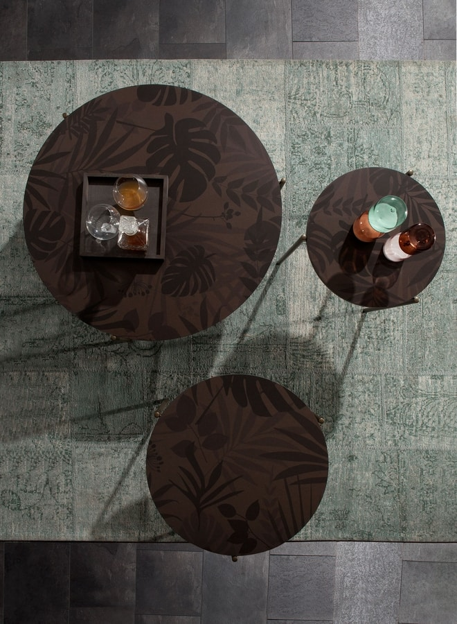 ICON, Round small tables, with jungle serigraphy