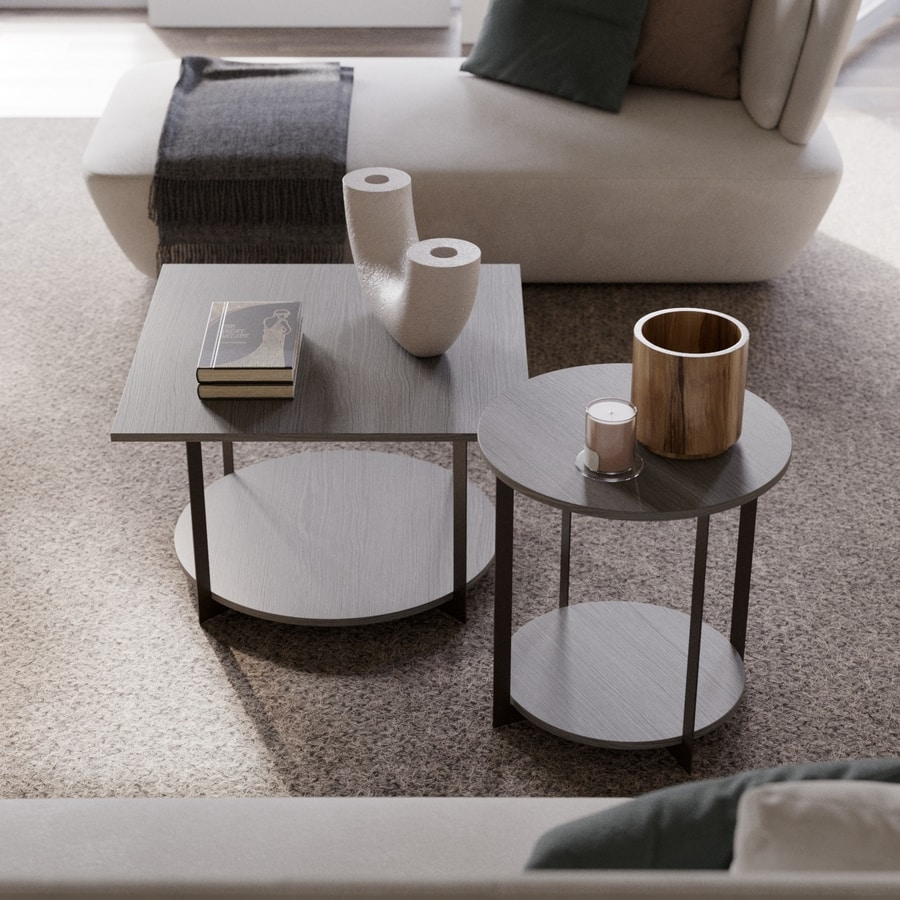 ICS round, Coffee table with round base and top, for living room