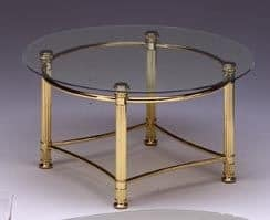 IONICA 662, Round table for modern living room, glass top