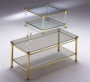 IONICA 664, Brass coffee table, in transparent glass, for living room
