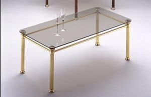 IONICA 666, Coffee table with structure in polished brass, for living room