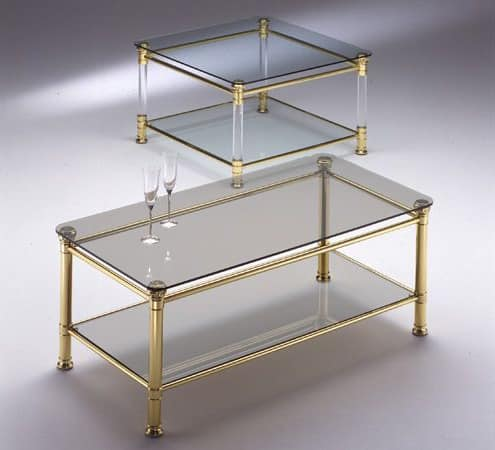 IONICA 670, Square table with 2 glass tops, for Reception