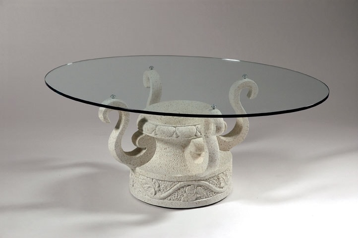 Coffee Table With Decorated Stone Base Idfdesign
