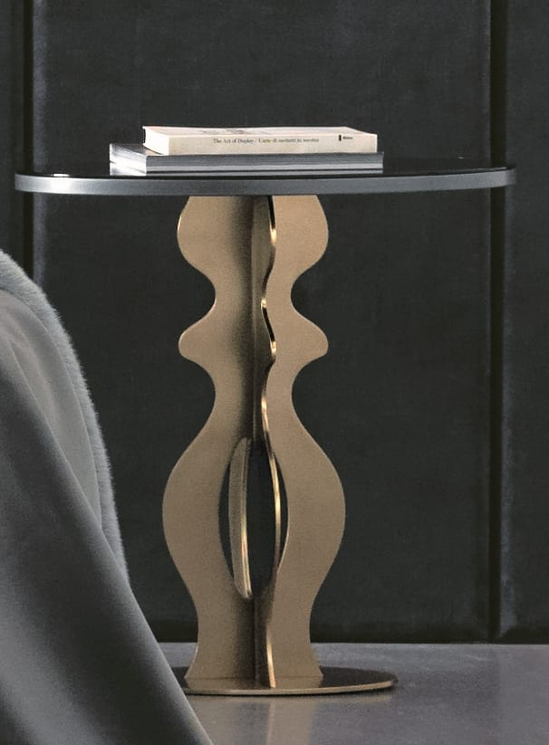 Jasper Art. 163, Iron based side table with smoked mirrored top