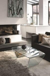 LYRA TLC10, Rectangular coffee table in curved glass
