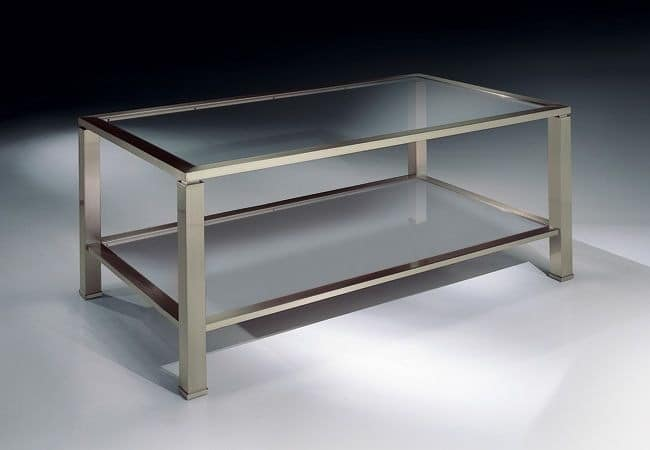 MADISON 3270, Rectangular coffee table in nickel, glass top, for living rooms