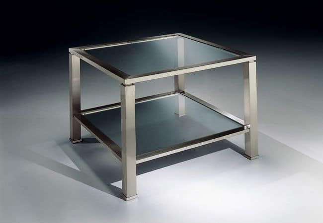 MADISON 3271, Square coffee table in brass nickel, glass top