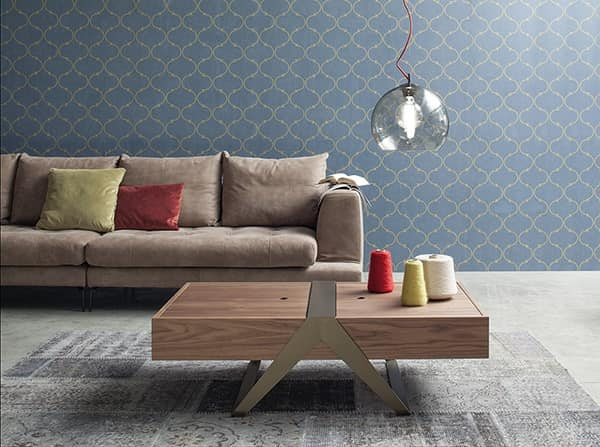MATRIOSKA, Linear style coffee table, wooden top with container
