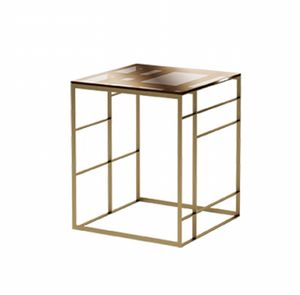 Matrix side table, Table in bronze metal and glass