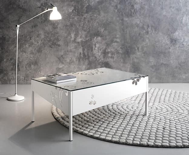 Medea rectangular coffee table, Metalllo rectangular table with glass top