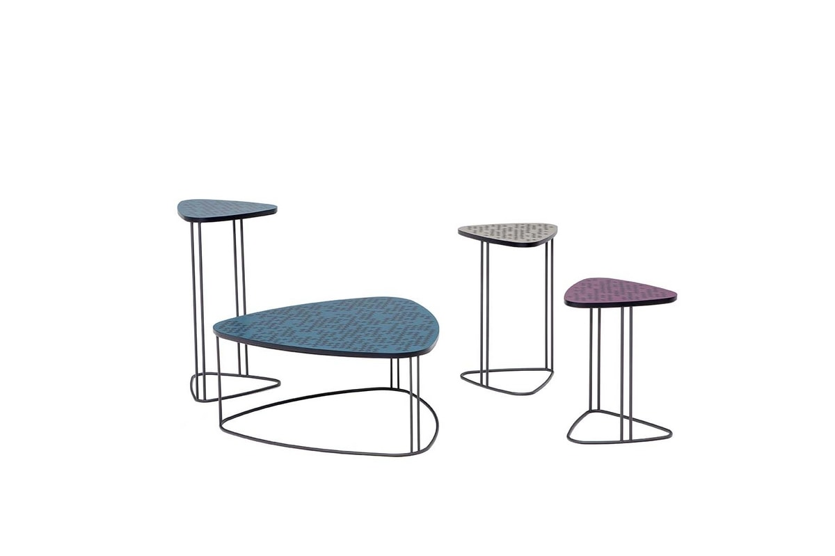 MIX, Small tables with metal frame and top in screen-printed MDF or fused glass