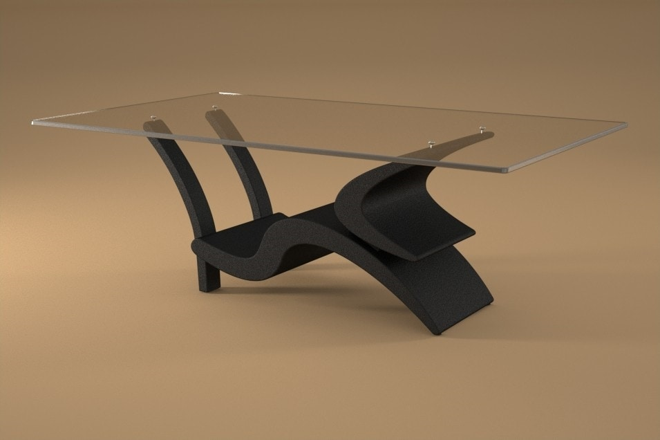 Morgan, Coffee table with base in stone and wood