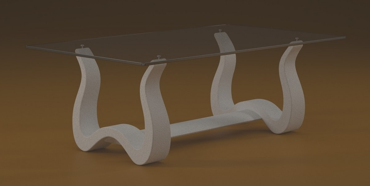 Nabia, Coffee table with worked stone base
