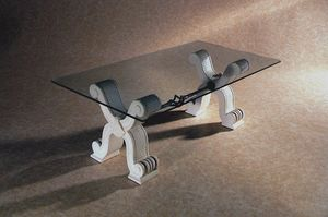 Ogma, Classic stone and glass coffee table