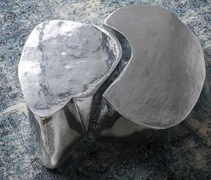 Otto, Coffee table in polished and brushed cast aluminum