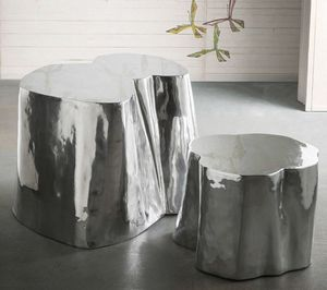Otto tall + low, Pair of aluminum coffee tables
