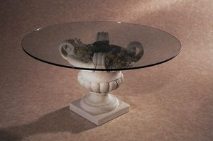 Palladio, Coffee table with stone base in the shape of a vase