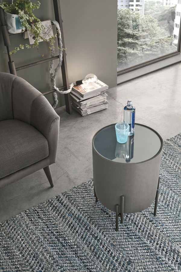 PLANOS PF610, Small table with glass round top