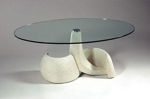 Poseidon, Classic style table, stone and glass