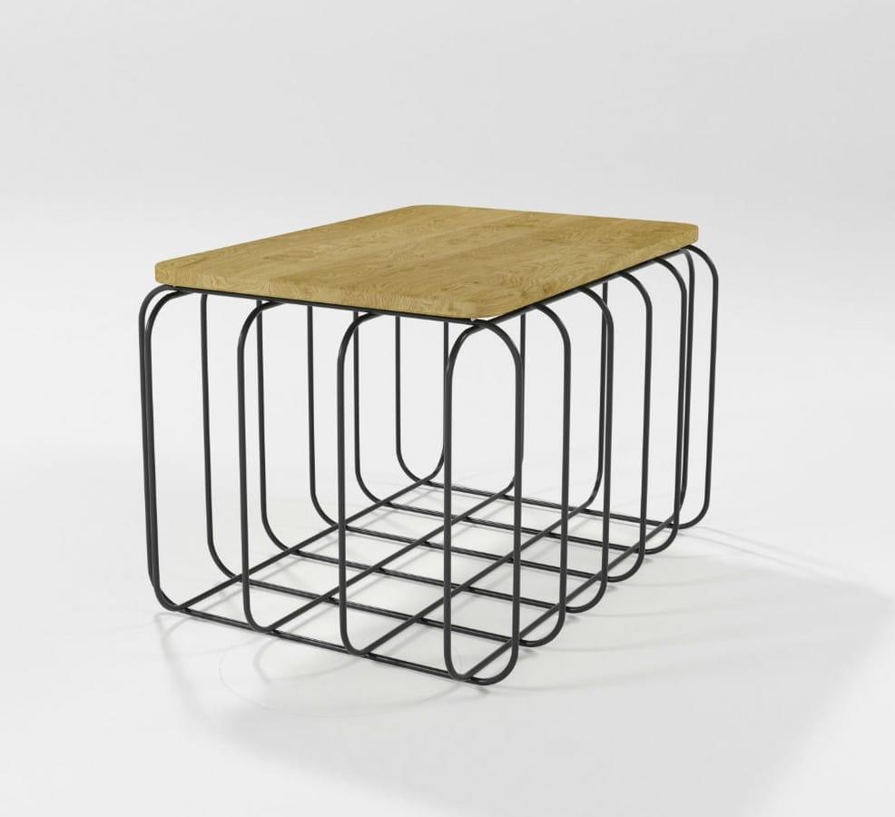 Prisma, Rectangular coffee table with iron base