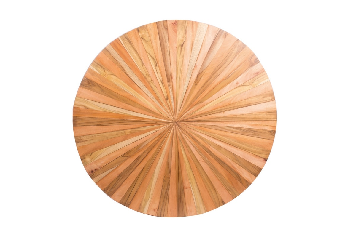 Remix 0499, Round table made from various types of wood