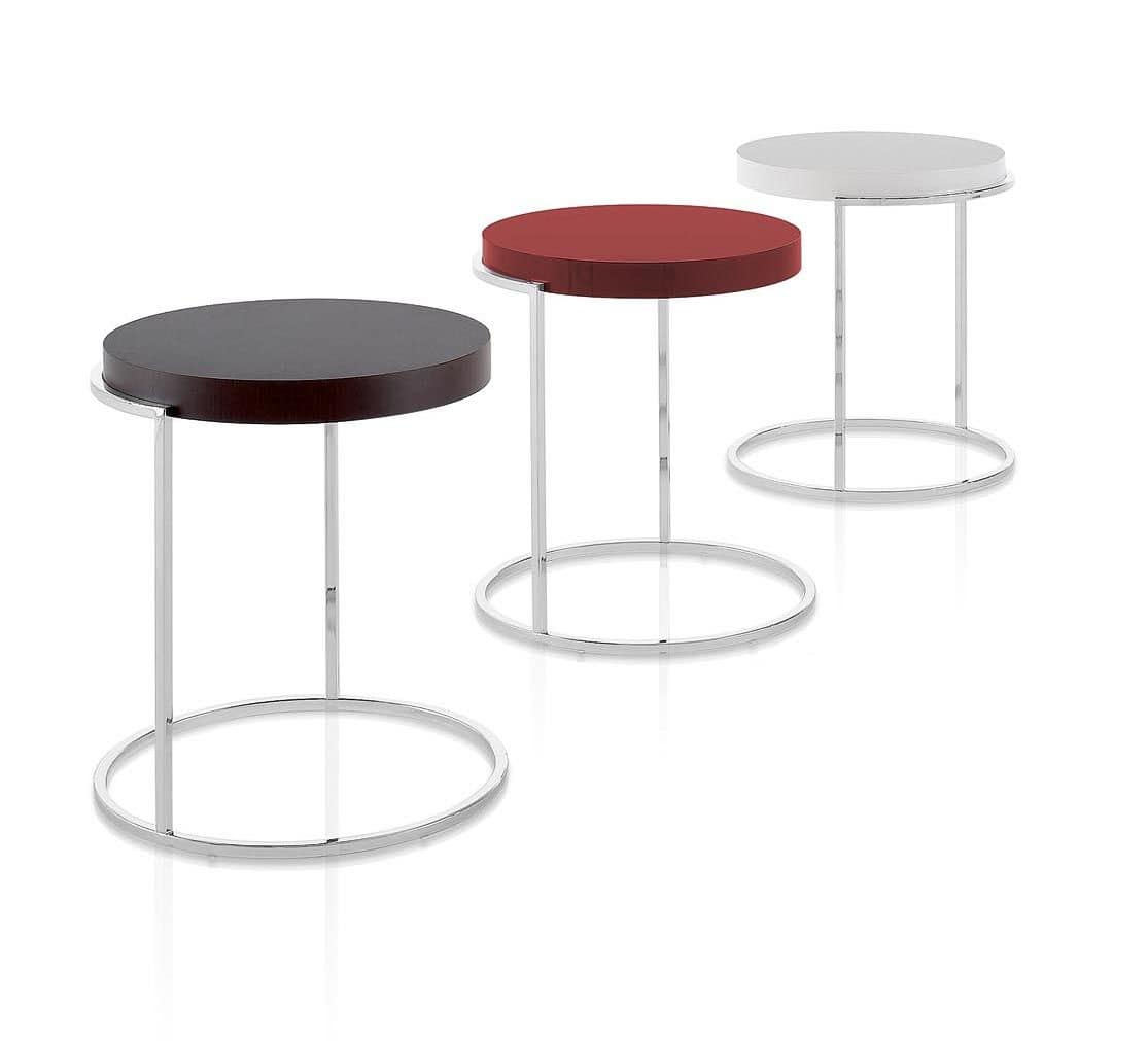 Servogiro, Low table, with wooden round top, metal base