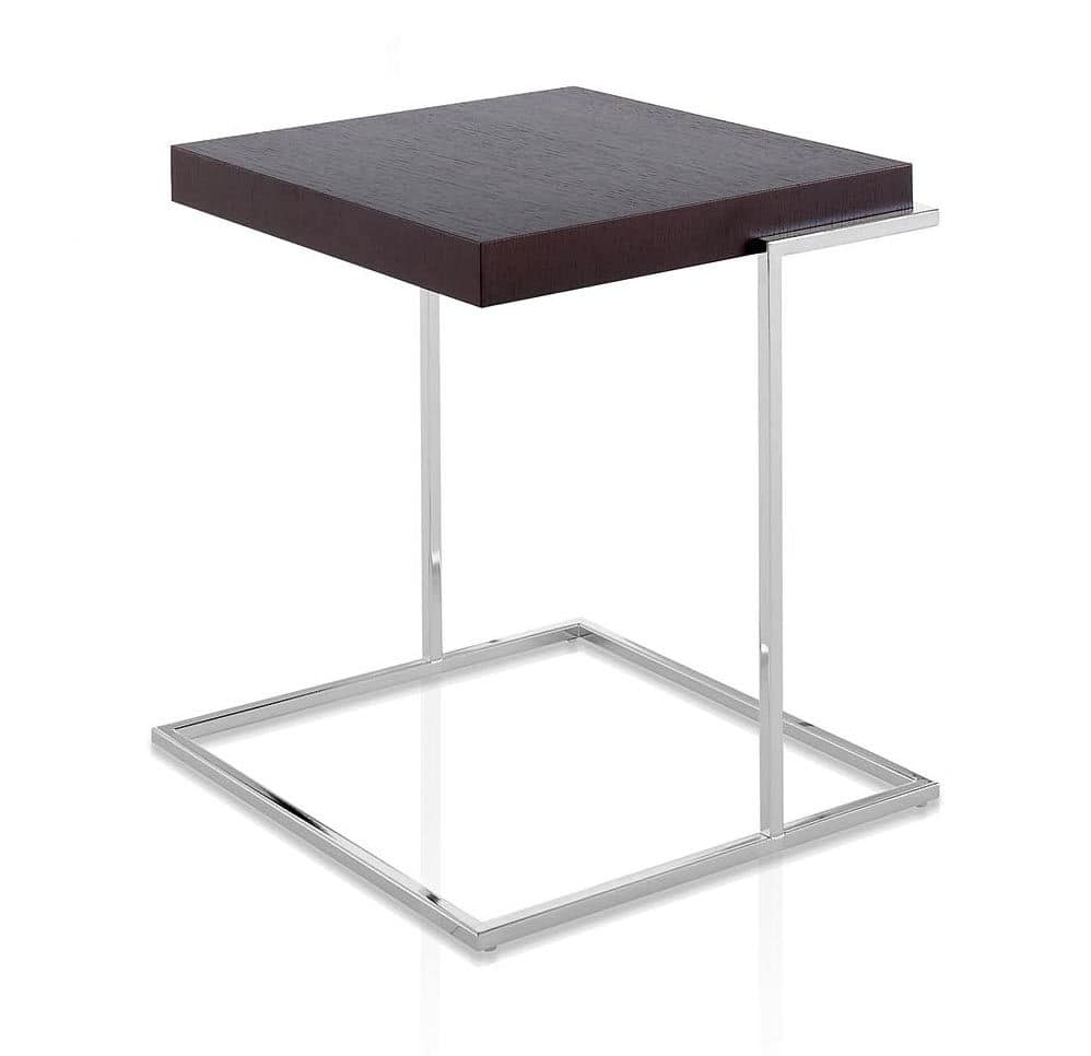 Servoquadro, Coffee table with square wooden top, metal base