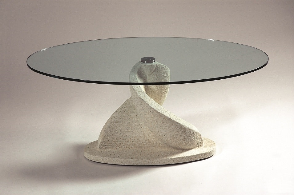 Shell, Oval coffee table with glass top