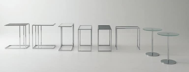 Small tables metal-glass, Coffee table, in steel and glass, for conversation area