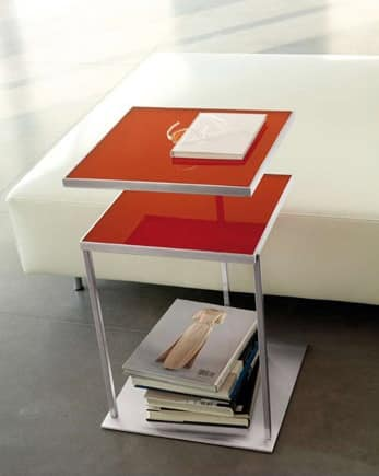 Square, Table with two tops made of glass, swivel top available