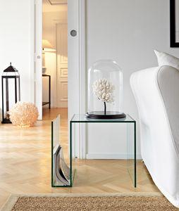 Swami 500, Glass coffee table with magazine rack