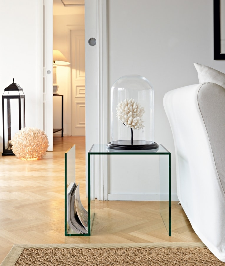 Swami 500, Glass coffee table with magazine rack
