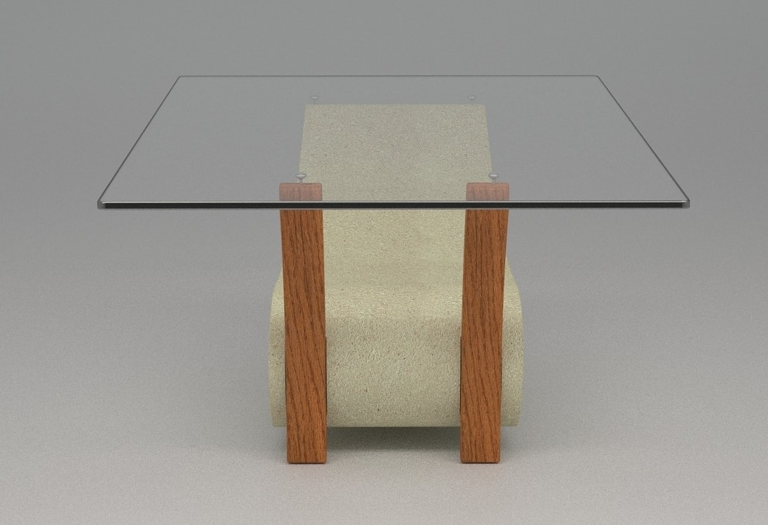 Tanatos, Coffee table with base in stone and wood