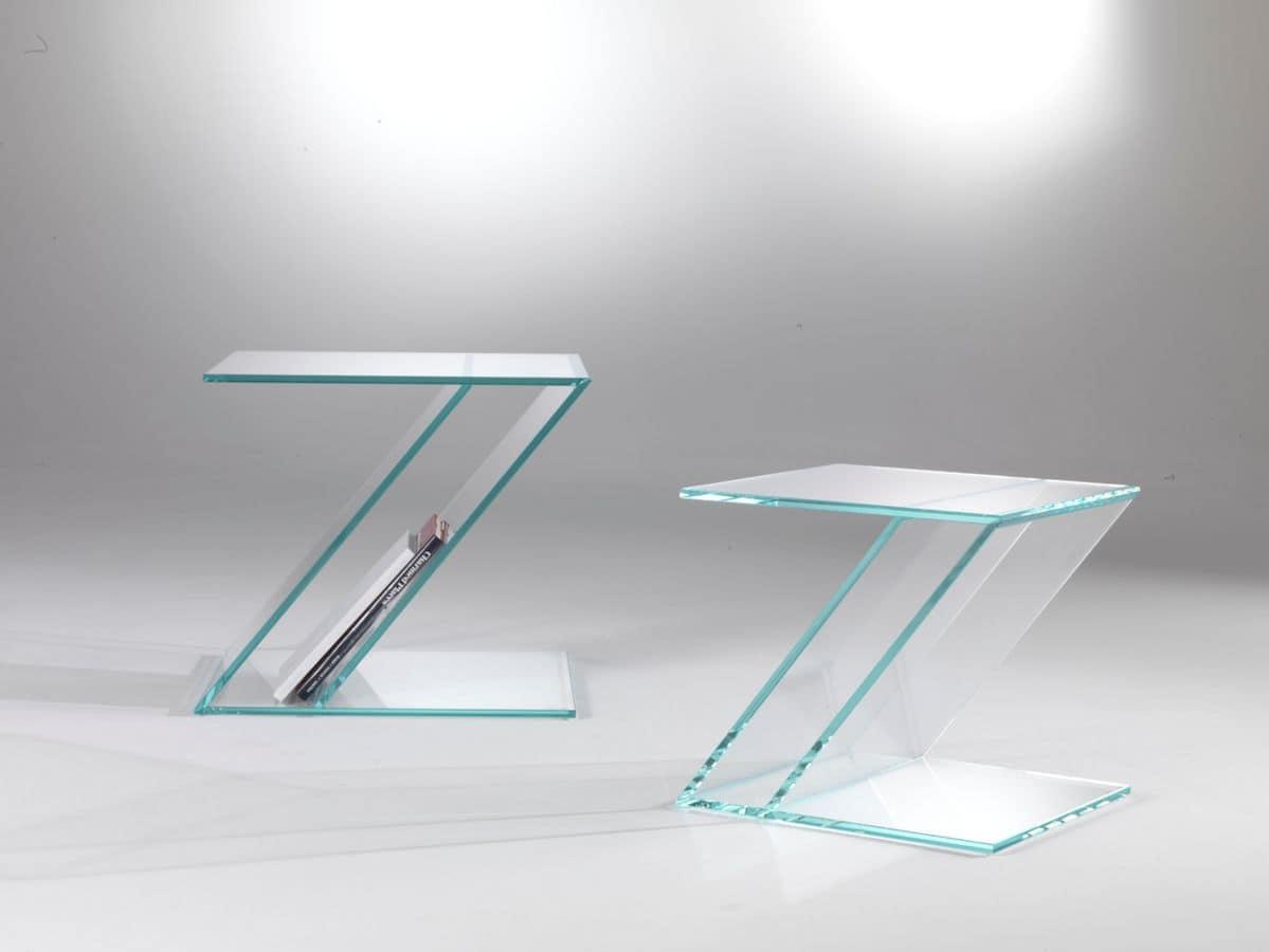 Tavolino 02, Glass coffee table, zed shaped, with magazine rack
