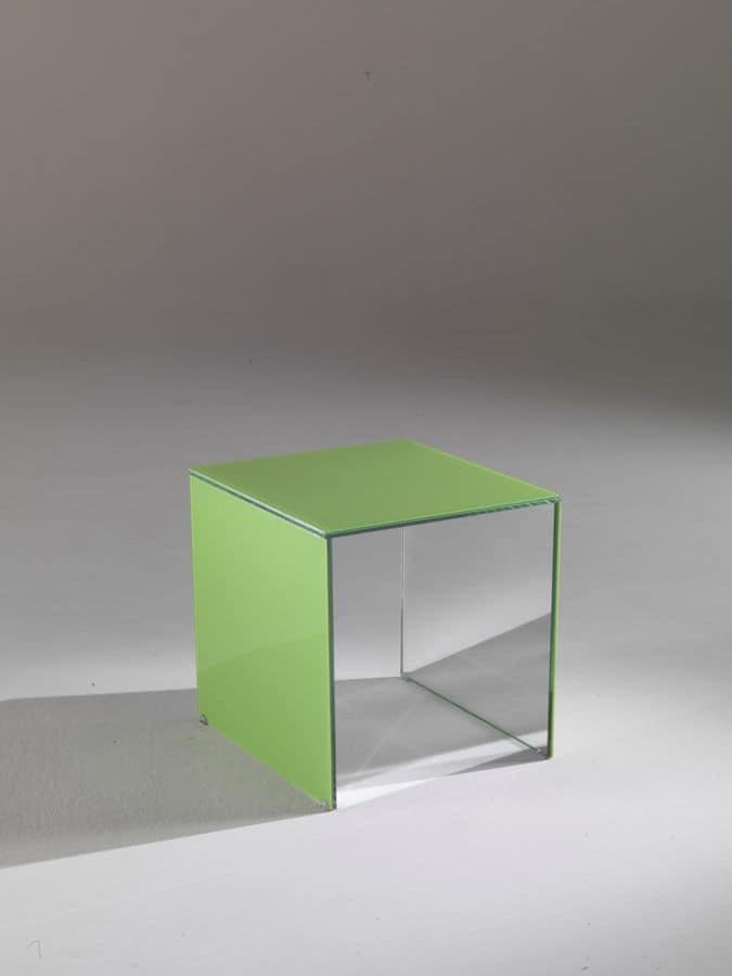 Tavolino 03, Rectangular coffee table, made of coloured crystal