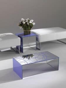 Tavolino 03, Rectangular coffee table, made of coloured crystal