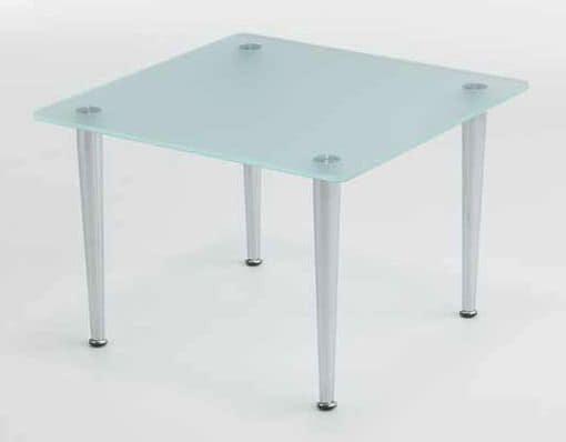 Tavolino Coffee, Square steel coffee table, glass top