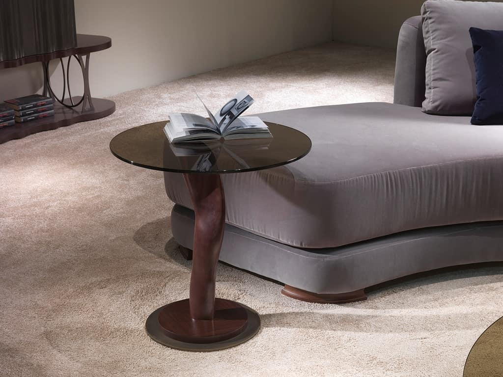 TL42C small table, Side table with bronze glass top