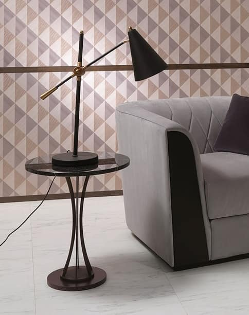 TL60B Moonlight, Side table with glass round top