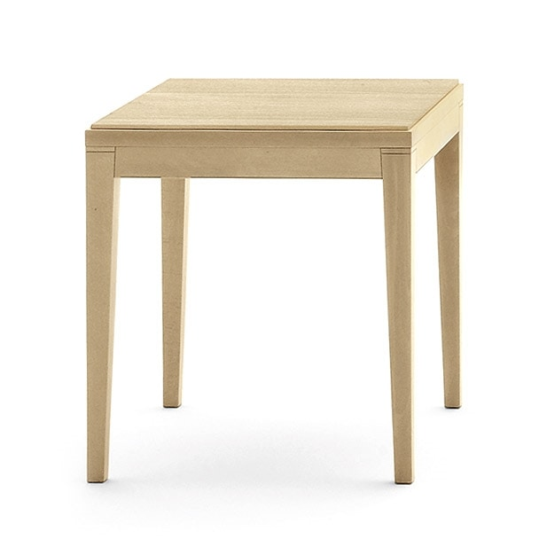Toffee 810, Square low table with beech structure, top in veneer beech, for modern style