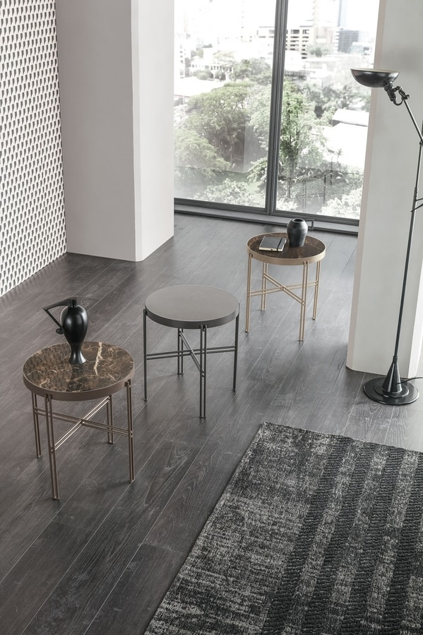 TWEET S TL510, Round small table with porcelain stoneware top