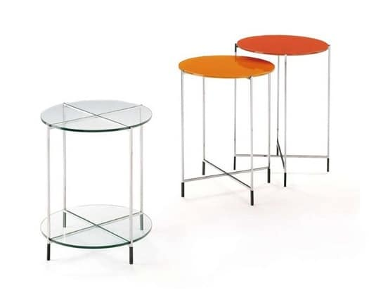 Twin, Set of coffee tables with glass top and stainless steel structure