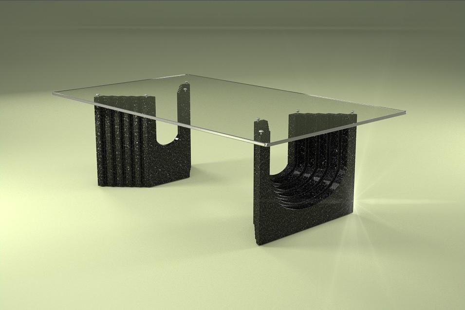 Ulisse, Modern coffee table with glass top